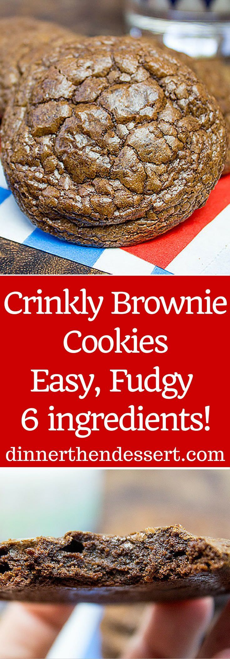 Don't be fooled by the fact that they only have 6 ingredients, these Crinkly Brownie Cookies are rich, fudgy and totally addicting!