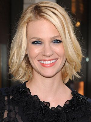 """January Jones gives her stylish """"lob"""" (long bob) a sexy edge with a deep side part and subtle waves."""