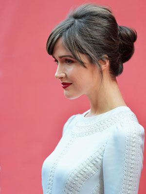 Rose Byrne's wispy fringe and volume at the crown make this bun the opposite of plain Jane.