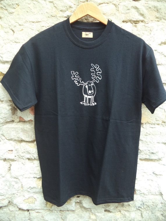 Reindeer  black short sleeve T-shirt by Akombakom on Etsy