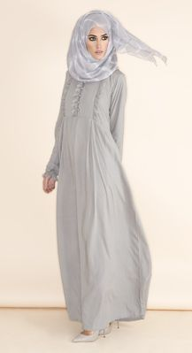Front Frill Abaya - Glacier Grey Beautiful feminine detail with a vintage touch……