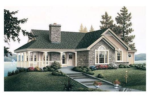 Ranch style house with wrap around porch...but needs another bedroom :( I WILL have something like this. Now accepting donations....