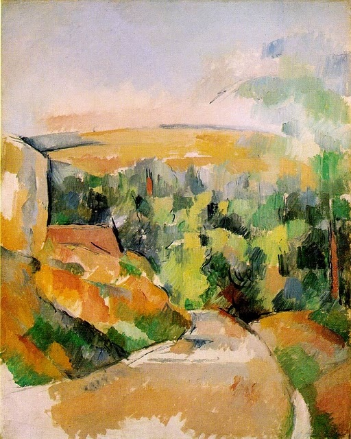 The Bend in the Road by Paul Cezanne / book cover for Slow Homecoming by Peter Handke