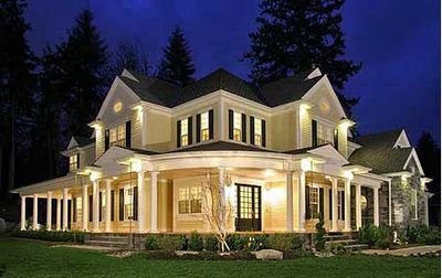 My dream home. I'm seriously in love with old black and white plantation style houses with the wrap around porch <3 a bright red front door would be the icing on the cake ;)