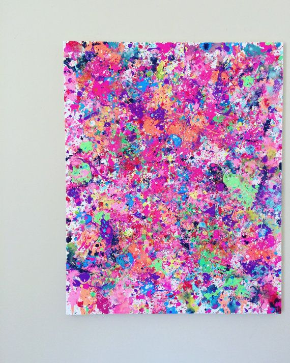 Splatter Paint Art Abstract Painting XL Neon Pink by ResemblesMe