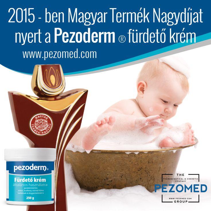 A Pezoderm fürdető krém. 2015-ben elnyerte a Magyar Termék Nagydíj minősítő trófeát, tradicionális jól bevált receptúra alapján, ám modern felfogásban, gyógyszertári minőségben előállított gyengéd mosakodó krém, az egész család számára. Hosszabb eltarthatóság, jól kenhetőség jellemzi. Nem tartalmaz színezéket, mesterséges illatanyagokat és parabént. Pezomed http://www.pezomed.com/hu/termek/pezoderm_furdeto_krem_250g