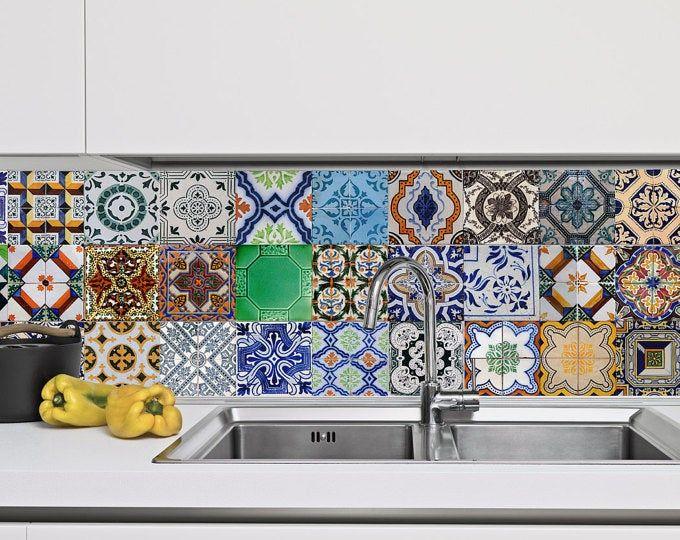 Mexicaanse Tegels Stickers Set Van 16 Tegels Tegel Etsy Kitchen Wall Decals Portuguese Tiles Tile Decals
