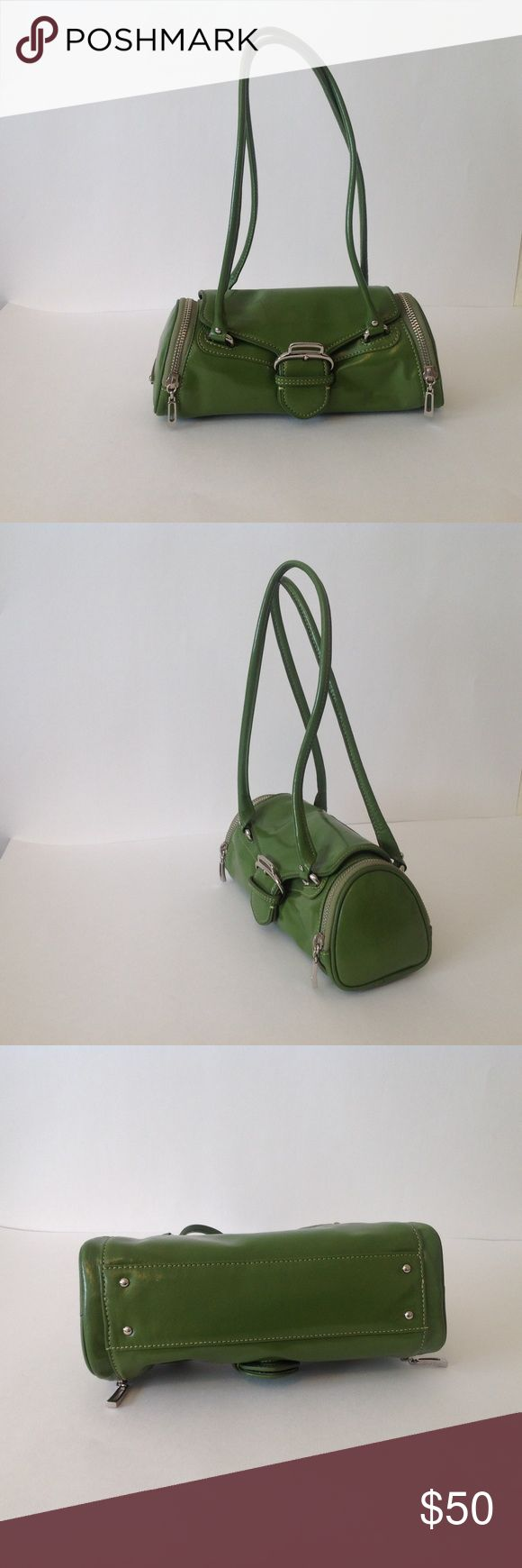 Cole Haan Kelly Green Satchel - Limited Edition Stylish, eye-catching kelly green Cole Haan leather handbag. Only worn twice! In excellent condition - no wear and tear. Authentic Cole Haan, NOT made for outlet stores. Fits over the shoulder. This bag adds a fun pop of color to any outfit. No trades. Cole Haan Bags Shoulder Bags