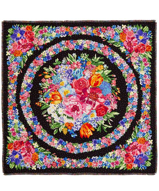 Liberty London Black Best In Show Square Silk Twill Scarf