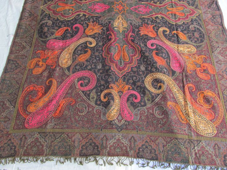 BOILED WOOL SHAWL PAISLEY HAND EMBROIDERY DESIGN JAMAWAR CASHMERE THROW BED 3997