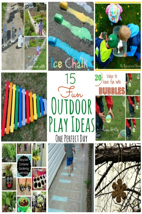 Lots of fun and simple outdoor play ideas featured on Tuesday Tots at One Perfect Day.