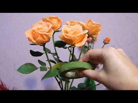Розы из холодного фарфора мастер класс без специальных инструментов - YouTube