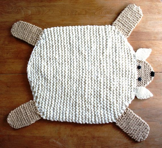 Hand knit 22 inch sheep lamb mat blanket spread by WolverineKnits