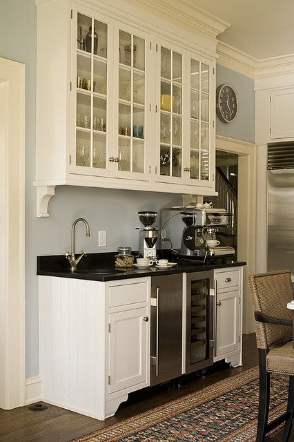 HERE is EXACTLY what I want in my kitchen as the Coffee/Beverage Hutch. Great storage, small, sink, & of course, coffee maker! LOVE ALL OF IT!!