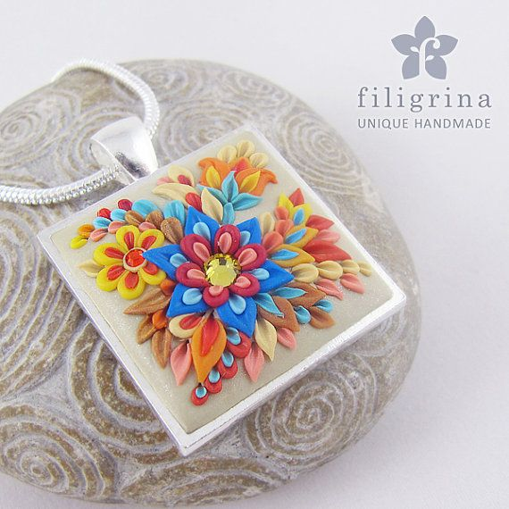 Handmade polymer clay filigree applique technique pendant AUTUMN with floral motif, folklore flowers by Filigrina, €22.99