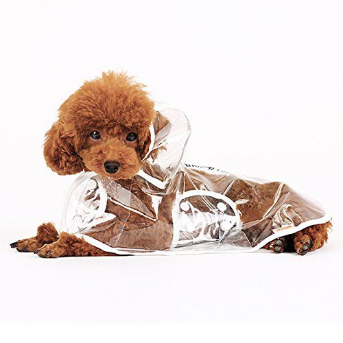 Pawliss Waterproof Dog Raincoat Clear Clothes Rain Suit Transparent Large
