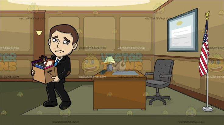 A Sad Man Gathering His Things After Being Laid Off Work At A Government Office :  A man with dark brown hair wearing a black pantsuit with a brown patch on the elbow black shoes white dress shirt and blue necktie frowns while carrying a box full of office items. Set in a room with brown and beige walls moss green floor with carpet a brown desk with a table lamp gray mat and swivel chair a flag of the united states in a silver pole is placed in the corner and a big blue rectangular…