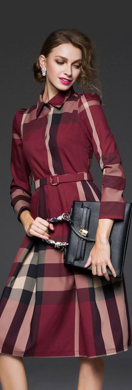 Burgundy Plaid Long Sleeves Collar Dress