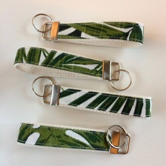 Tropical Leaves Key Fobs by SewnAtSunrise | Tropical Wristlet Keychain, Tropical Keychains, Bridesmaid Gifts, Wedding Party Gifts