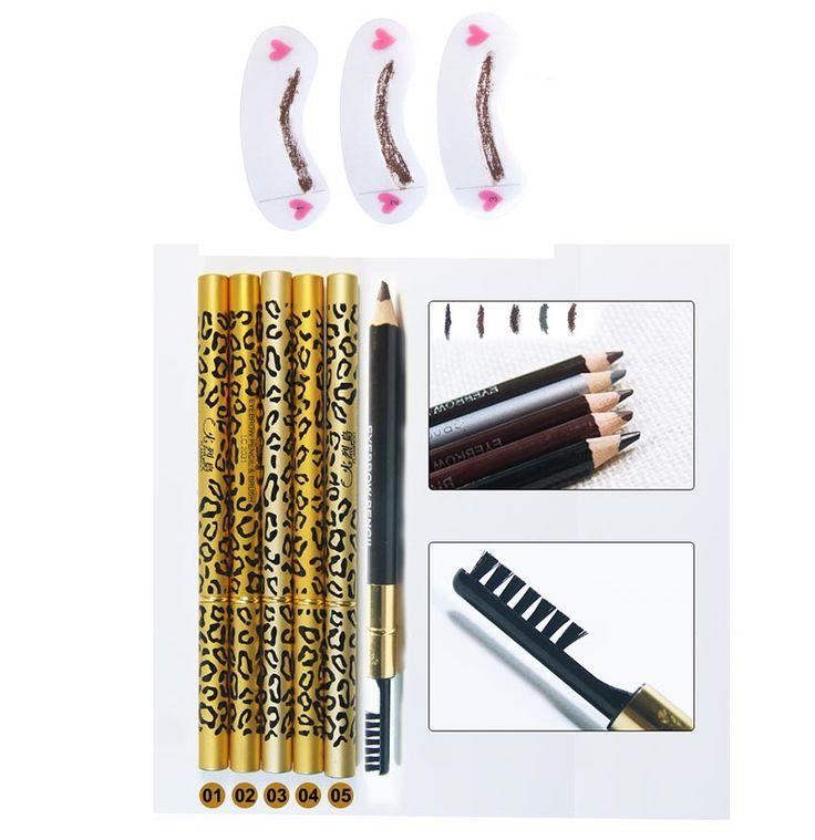 1 ST Double-gebruik Waterdichte Bruin Zwart Leopard Cosmetische Make Wenkbrauwpotlood Pen Met Borstel + 3 stks/set Grooming wenkbrauw Stencil