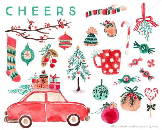 Watercolor Christmas Clip Art for personal and commercial use - Vintage Car Tree Branch Decor Sock Candy Mitten Hat Scarf Lollipop