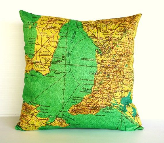 Cushion cover ADELAIDE Organic cotton Adelaide by mybeardedpigeon • cushion with map of Adelaide and South Australia on it • aussie big things Australia