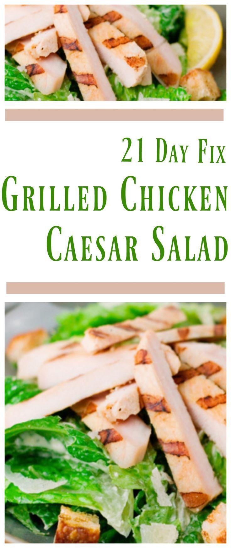 21 Day Fix Grilled Chicken Caesar Salad #21dayfix #21dayfixsalad…