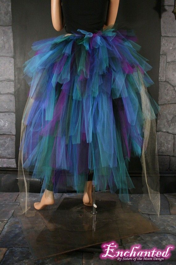 for peacock costume--over black leotards, with peacock feathers in hair.