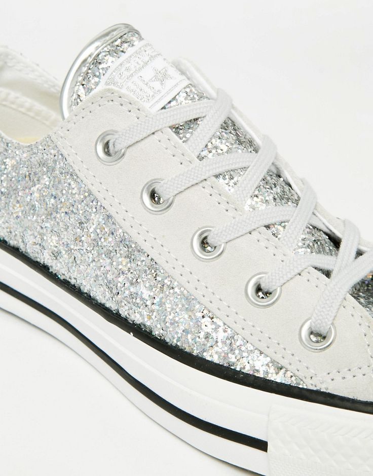 Image 4 ofConverse All Star Chuck Taylor Sequin Ox Silver Plimsoll Trainers