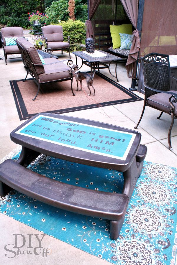plastic picnic table makeover. Paint with a fun color and out a fun quote on top