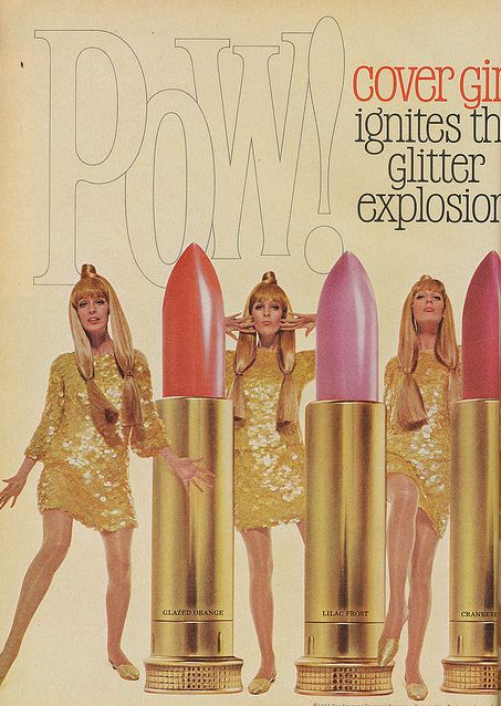 Cover Girl 1960s- Life size lipstick, actual interaction with the product.