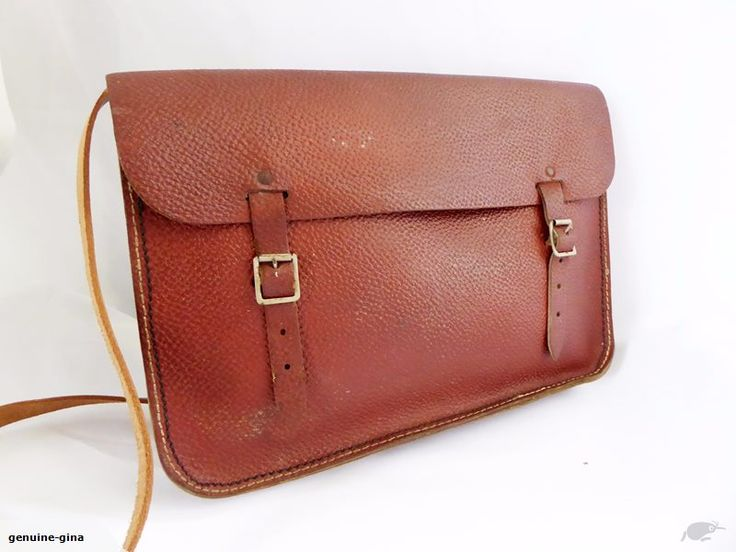 OLD SCHOOL genuine leather A4 comp vintage school satchel (A7) : BidBud