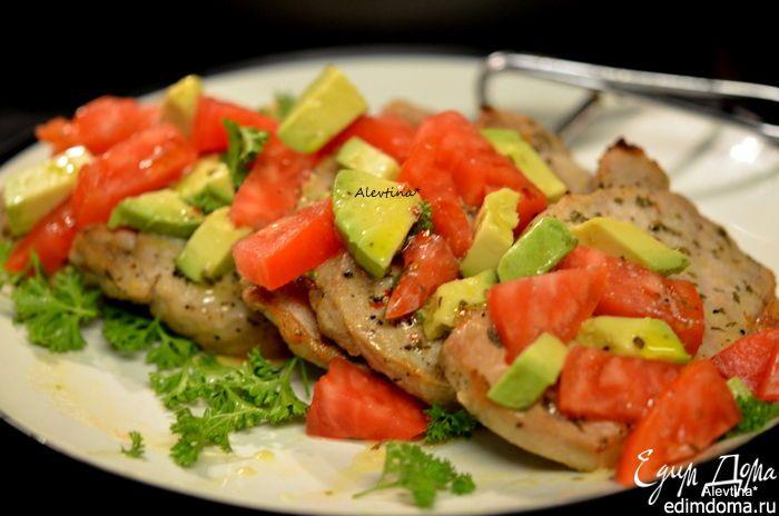 """Свинина """"Юкатан"""" с авокадо и томатом. Несложное в приготовлении мясное блюдо на ужин. #edimdoma #cookery #recipe #advice"""