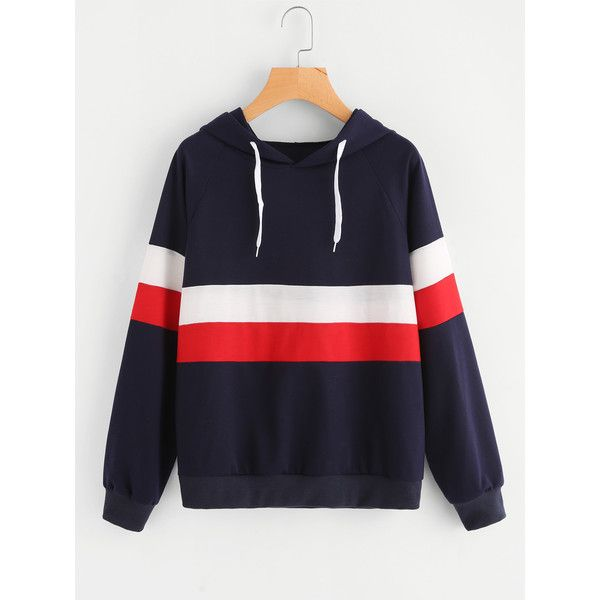 Color Block Striped Hoodie ($15) ❤ liked on Polyvore featuring tops, hoodies, navy, striped pullover hoodie, hooded pullover sweatshirt, navy blue hoodies, navy blue hooded sweatshirt and sports hoodies