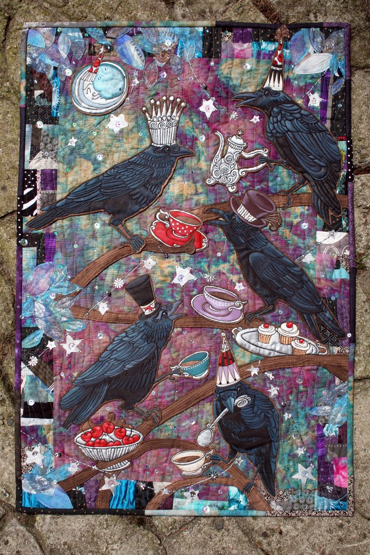 Mr. Crow's Tea Party, art quilt My entry into the Designer Style  competition at Creativ Festival, Toronto, 2012. This piece finished first in the Quilting Category, and was displayed across Canada with …