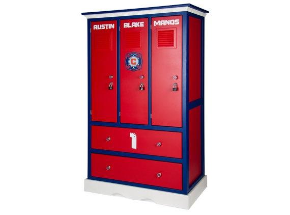 Interesting idea- locker style dresser for a sports-themed kids room ...