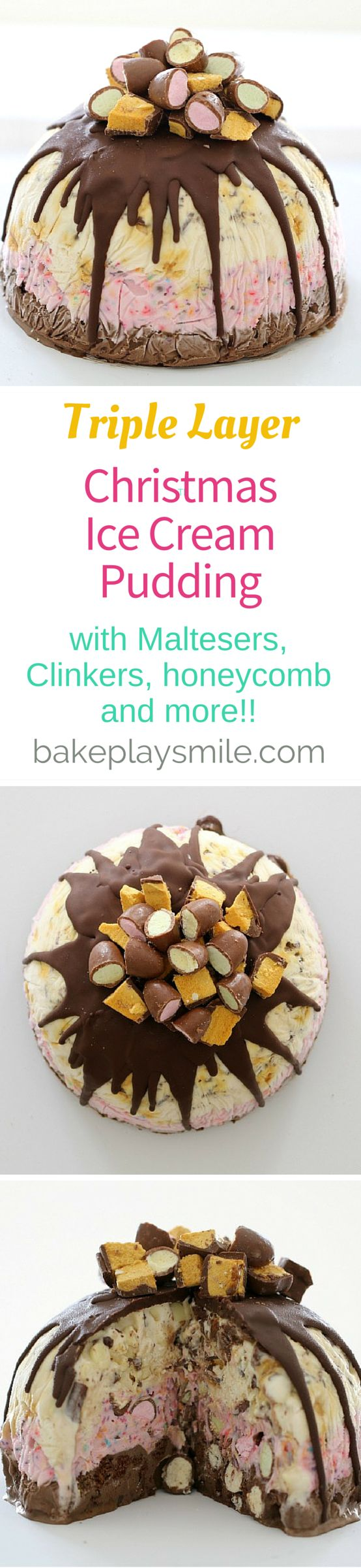 The most AMAZING Triple Layer Christmas Ice Cream Pudding you'll ever make!!! Made from tub of neapolitan ice cream - this is the best Christmas dessert! It has chocolate honeycomb, Maltesers, Clinkers, sprinkles, white chocolate chips, and chocolate biscuits... and Ice Magic! Love this so much! | Bake Play Smile