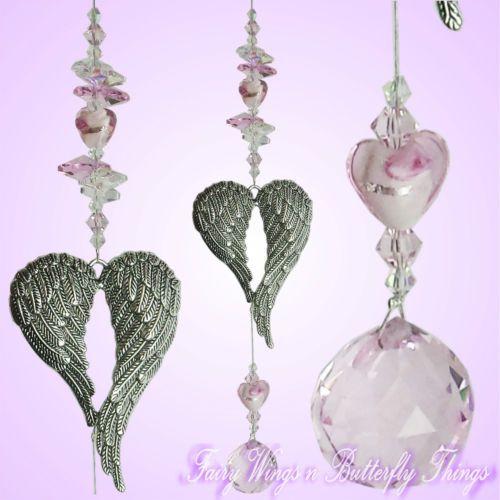 FWBT crystal suncatcher Angel wing sm *handmade love prism baby valentines gift $14