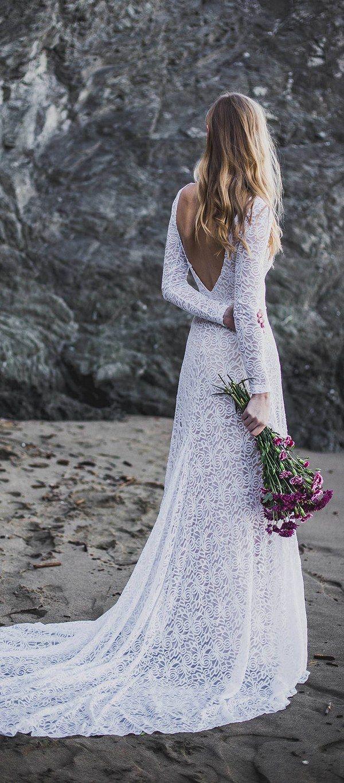 Low Back High Neck Long Sleeve Wedding Dress Indische Hochzeitskleider Hochzeitskleid Lang Brautkleid Lange Armel