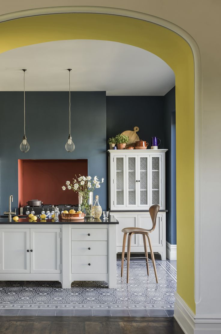 Colour block kitchen with yellow, teal and terracotta accents. A bright and easy update. More paint ideas at http://www.redonline.co.uk