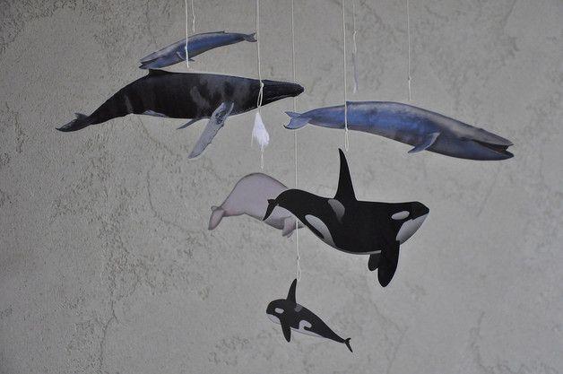 Karuzela Mobile Montessori 6 | Wieloryby - misticODDMENTS - Karuzele dla niemowląt