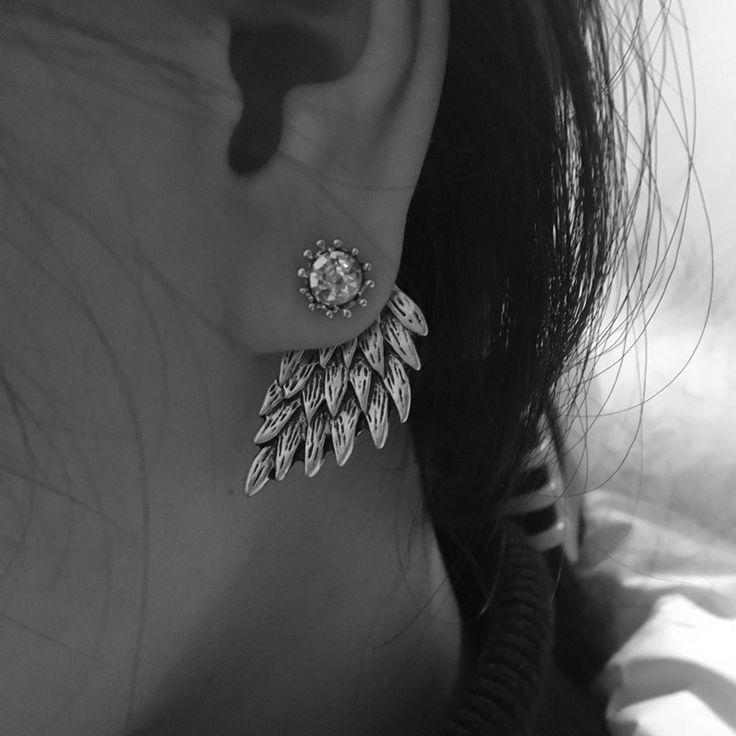Pameng 새로운 패션 블랙 골드 실버 색상 고딕 양식의 여성 멋진 보석 천사 날개 라인 석 합금 스터드 귀걸이 선물