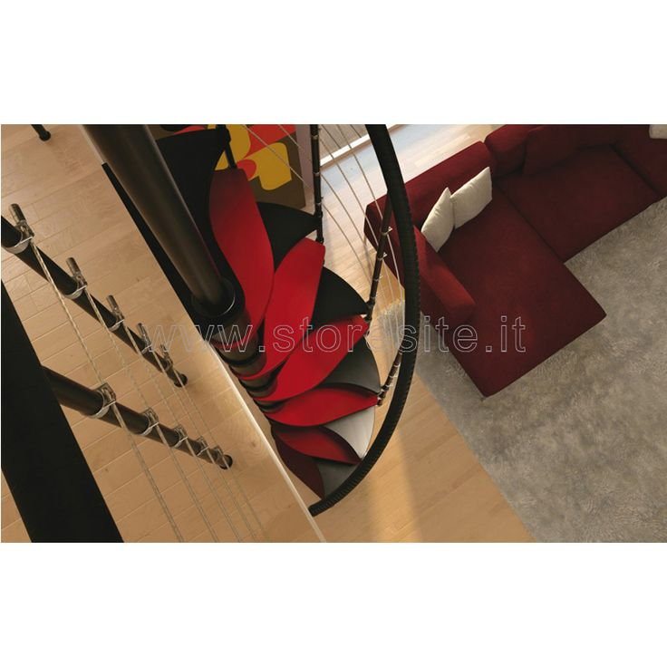 Scale a chiocciola salva spazio per interni mod. TRIO 180° 130 cm