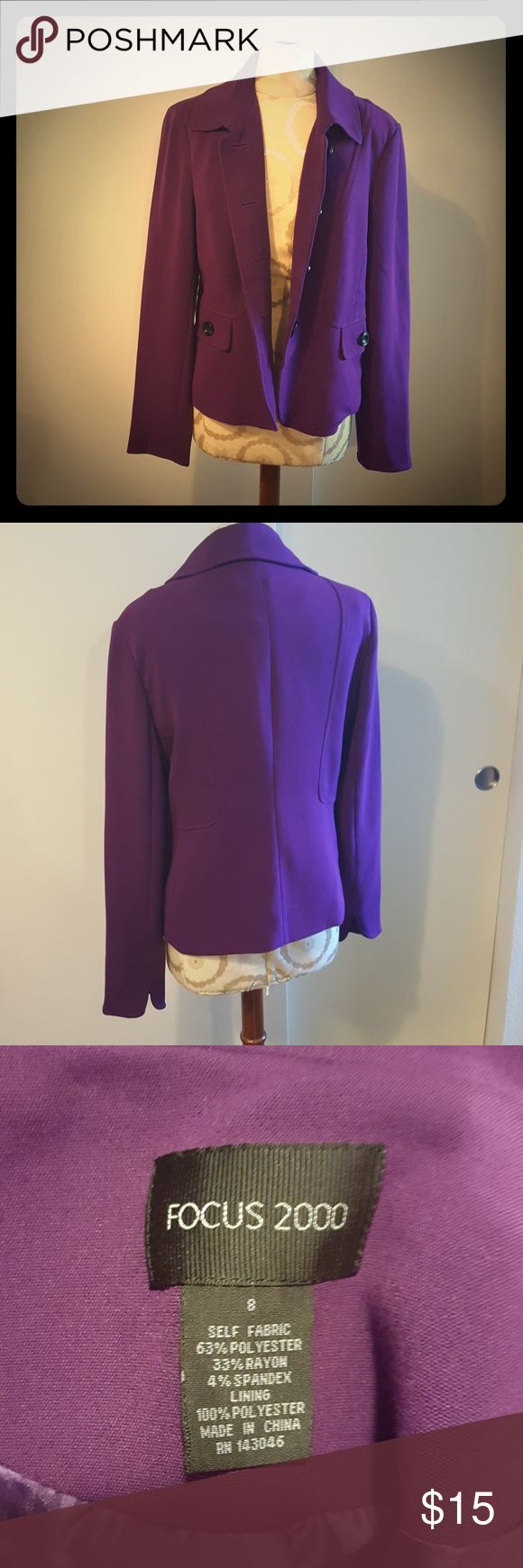 Focus 2000 purple blazer Stunning purple button up blazer. Can be dressed up or used with casual jeans! Focus 2000 Jackets & Coats Blazers