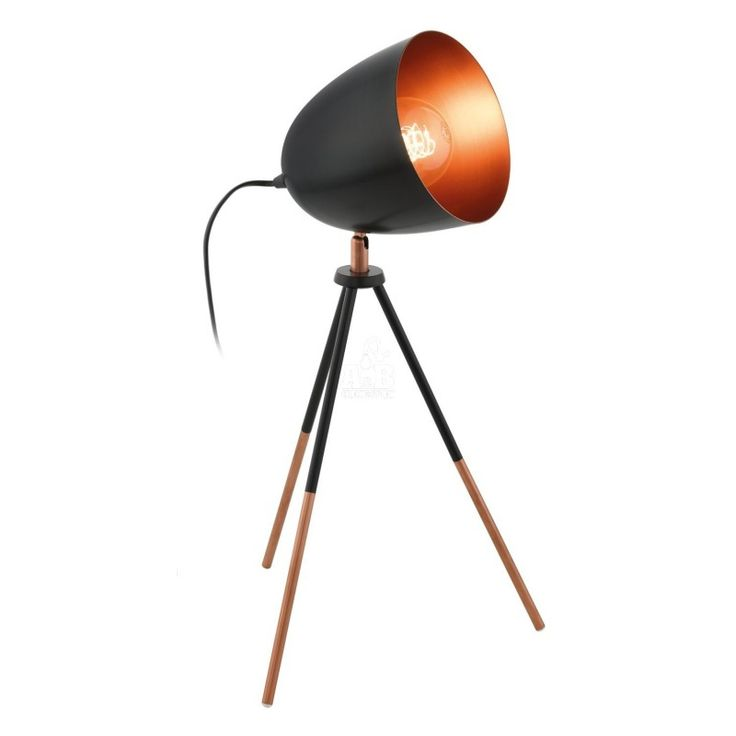 Tripod table lamp black and gold A&B Home4You