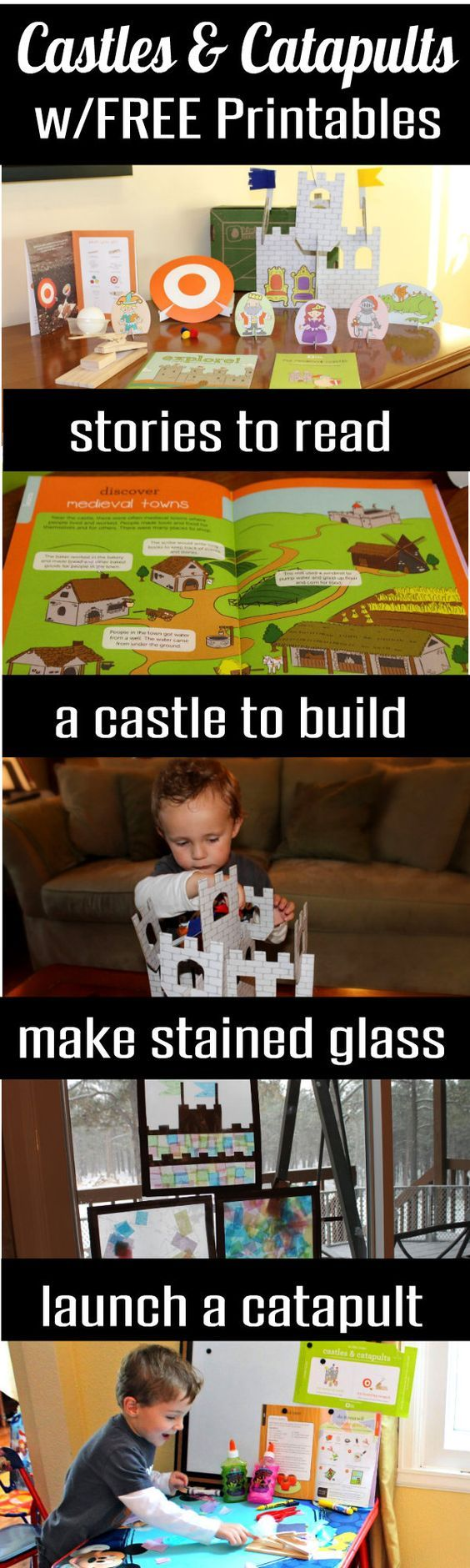 FREE Printables and Castle Play! If you have a preschooler, toddler, or young child at home who enjoys stories of knights, castles, catapults and shields, you will love this post. Itincludes a whole host of play ideas for preschoolers and activities for young children centered on a medieval theme. HappyandBlessedHome.com