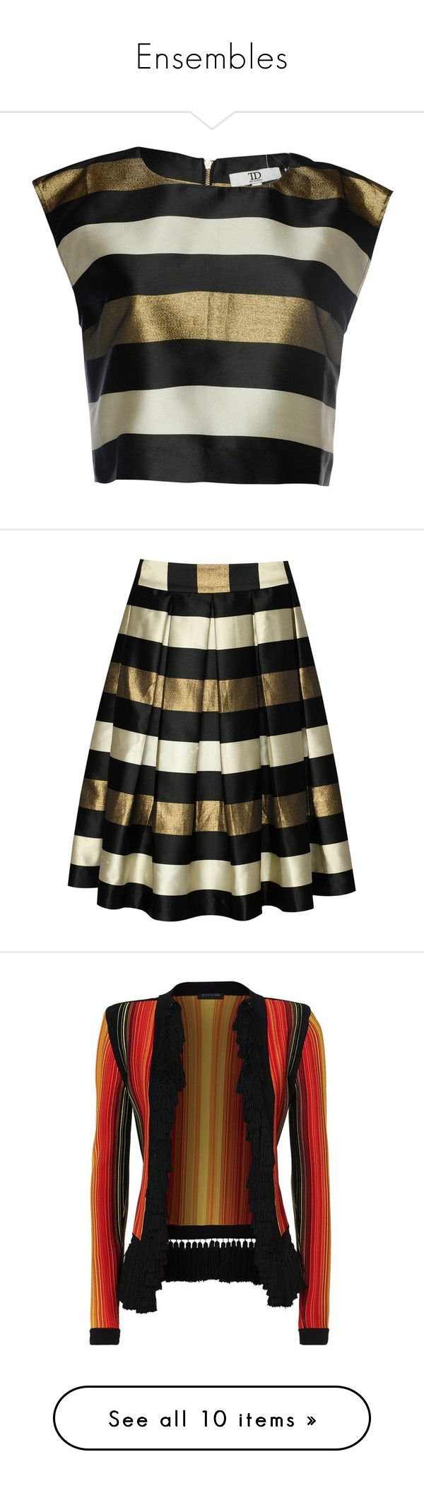 """""""Ensembles"""" by rafakeka on Polyvore featuring tops, crop top, patterned tops, sparkly crop top, cap sleeve tops, cream top, striped crop top, skirts, midi skirt e flared skirt"""