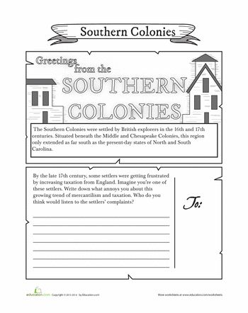 Worksheets: Southern Colonies