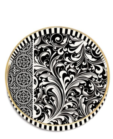Allissias Attic Design & Vintage French Style — Black Florentine Decoupage Trays - Round & Rectangular