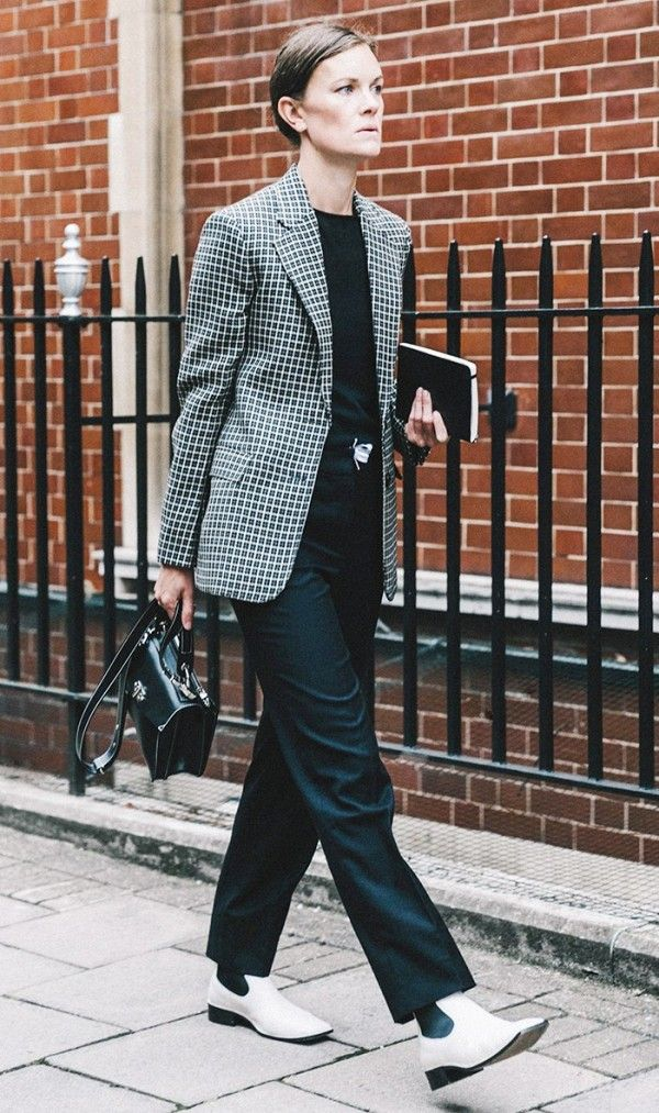 Blazer + Black T Shirt + Black Trousers + White Ankle Boots